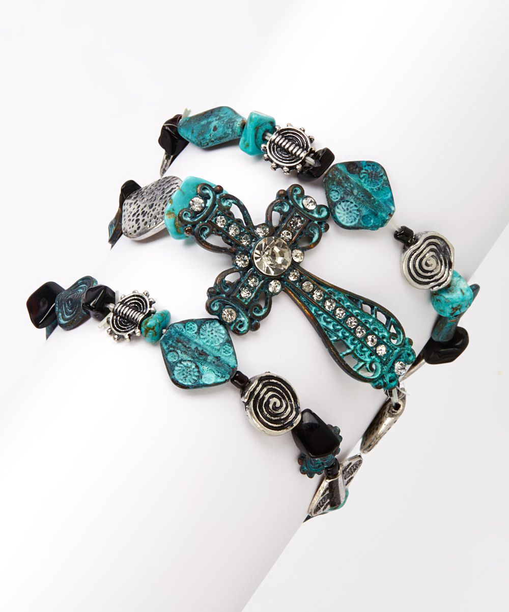 Turquoise & Antique Silver Cross Stretch Bracelet Set