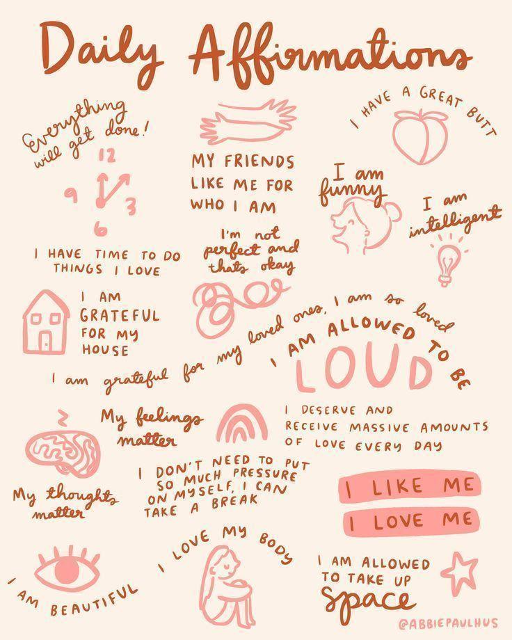 Daily affirmations art print mantras encouragement illustration reminder gratitude gratefulness self love body positive bathroom wall 20 ideas for self care sunday