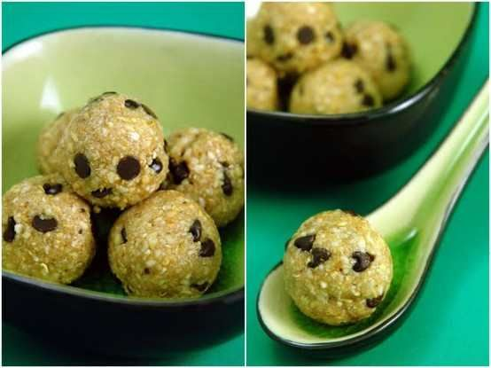 healthy oatmeal & nut balls!  made with nutrient-dense nuts, oats and agave nectar.  i am told you will swear they are like eating raw cookie dough.  that in itself makes it worth a try :)