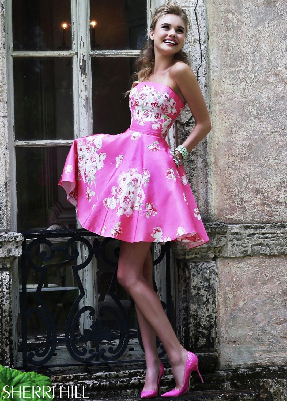 Sherri Hill 32074 Pink Floral Print Short Prom Dress | 2015 Prom ...