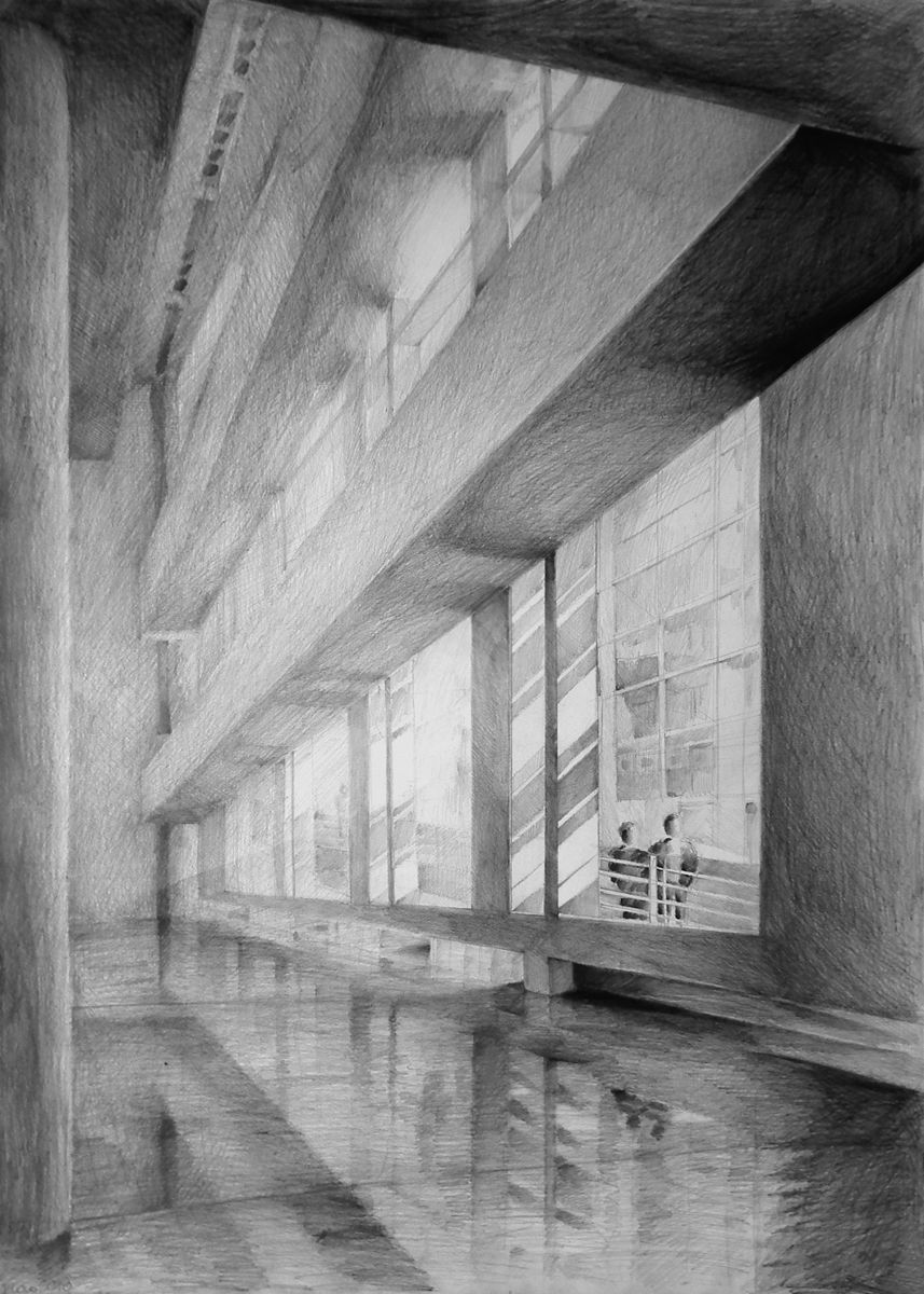 "Architecture Drawing Pencil interior with ""shiny"" floor created through light pencil use or"