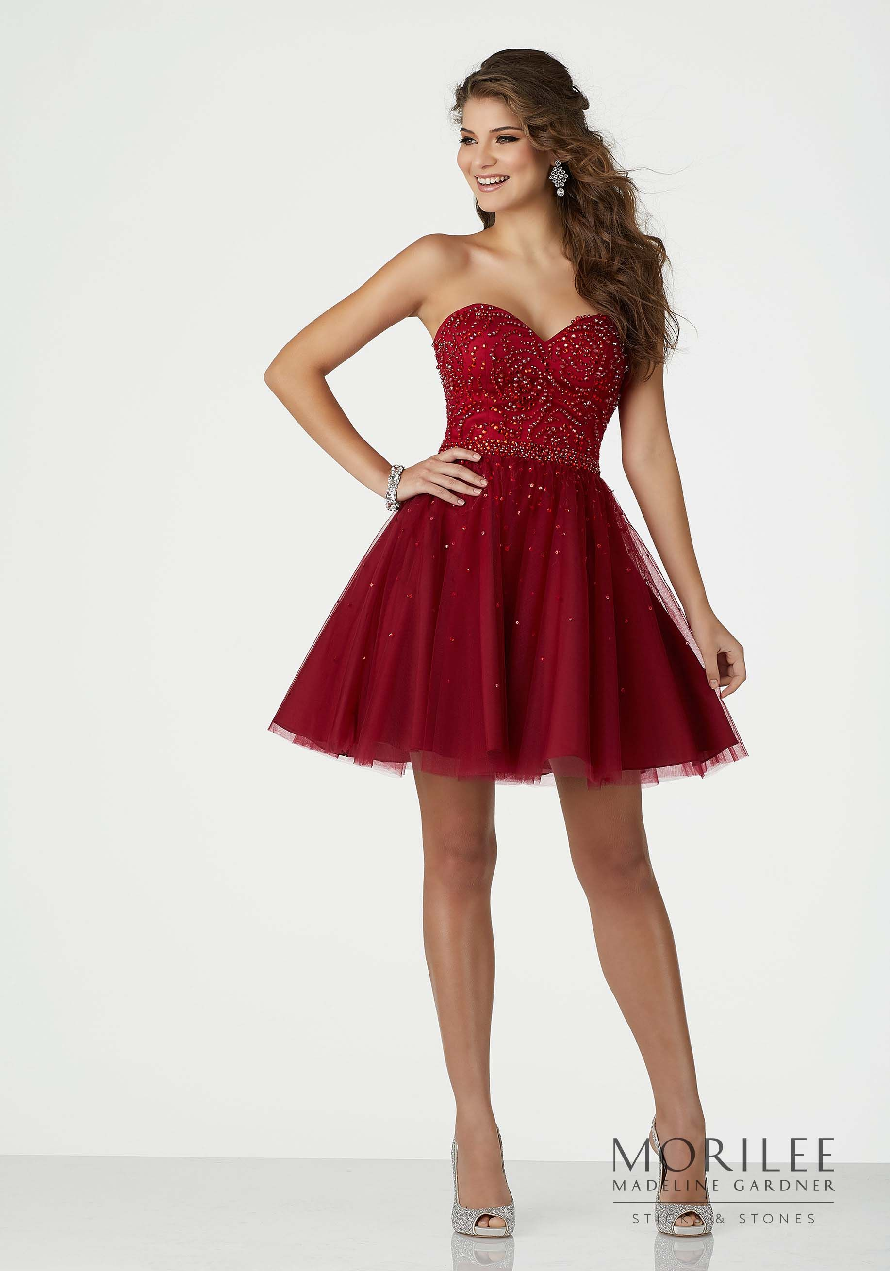 Red strapless short party dress featuring beaded soft net and a