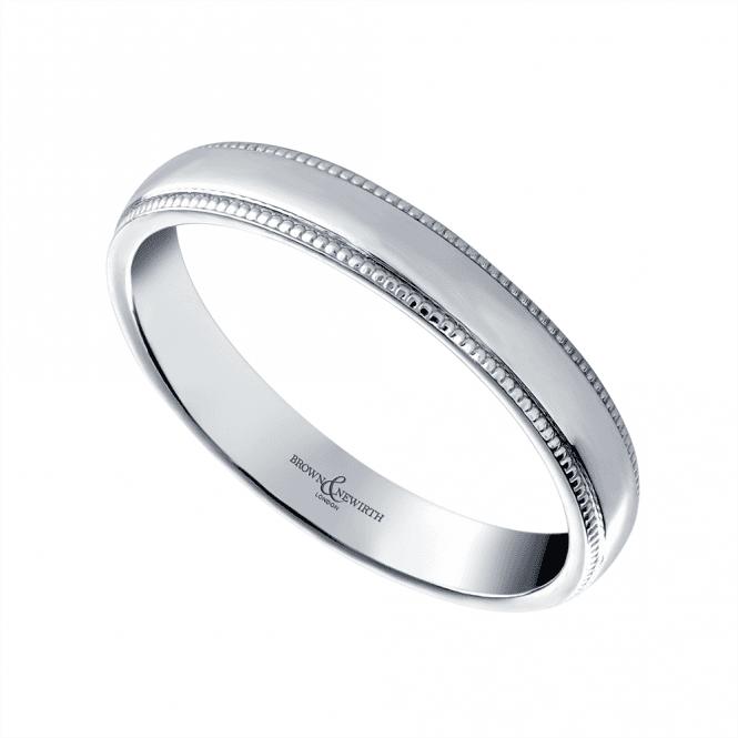 Brown & Newirth Grain 18ct White Gold 3mm Wedding Ring in