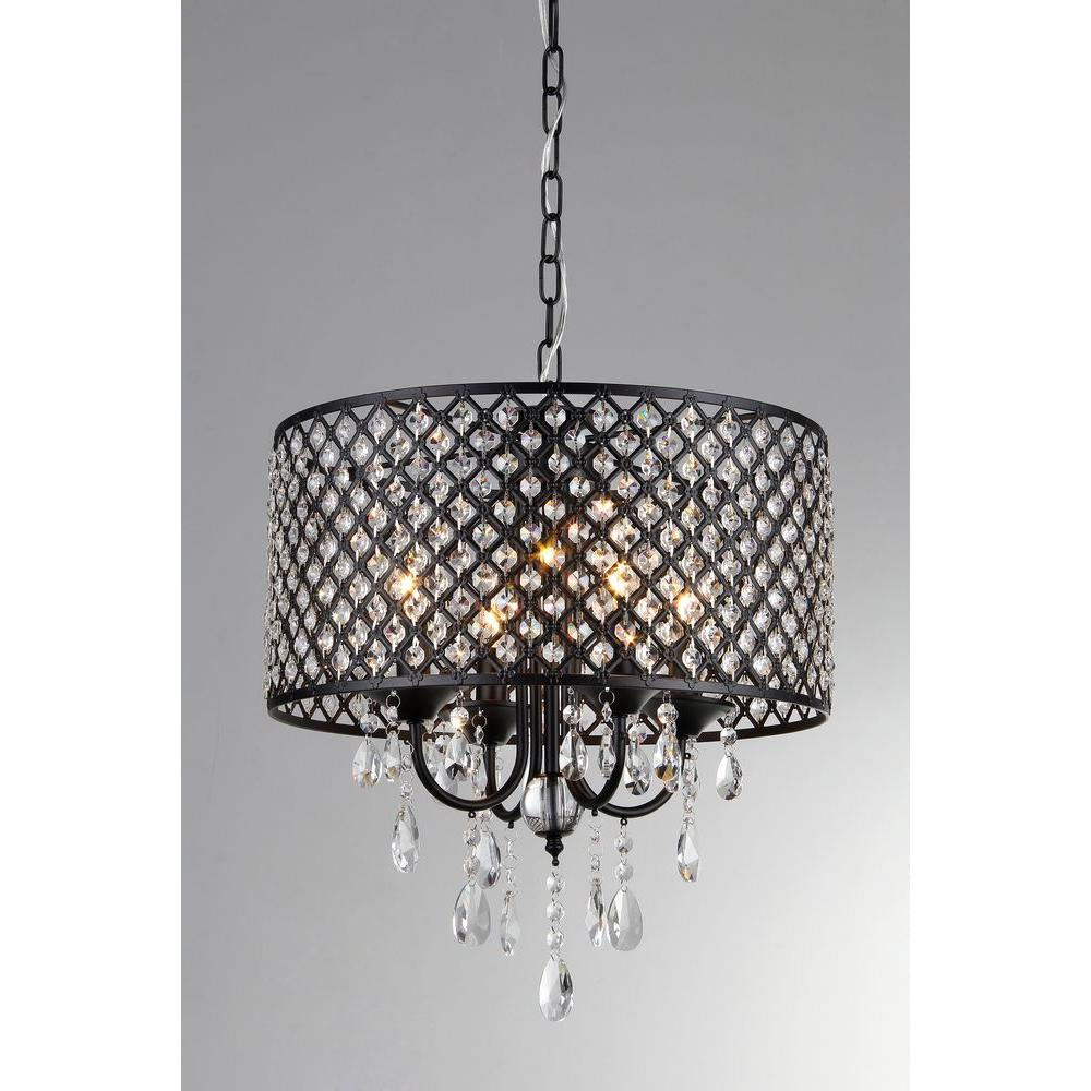 Monet 17 In Black Indoor Drum Shade Crystal Chandelier With Shade Su71394b The Home Depot Warehouse Of Tiffany Chandelier Shades Drum Shade