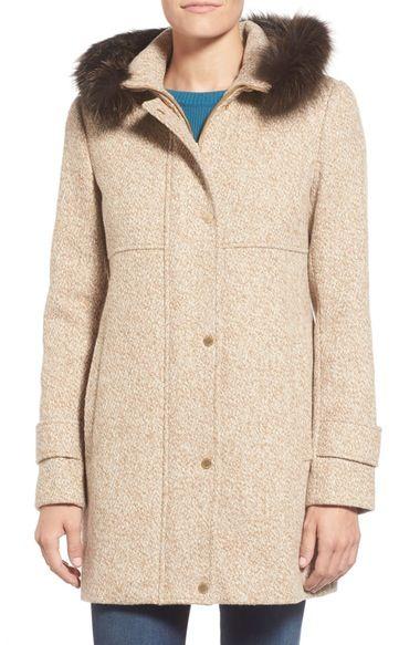 39e5cf6ce22 Ellen Tracy Genuine Fox Fur Trim Tweed Duffle Coat (Regular   Petite)  available at  Nordstrom