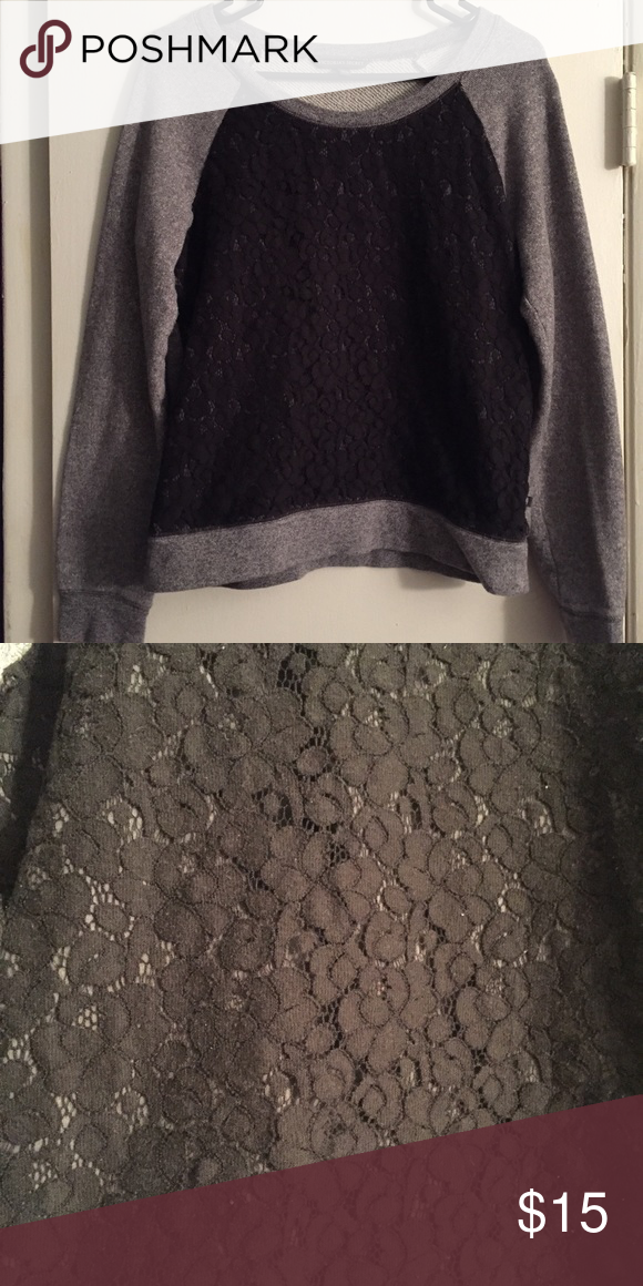 Black and Grey Sweater w/ Lace Overlay ✨ Black lace sweater! Super cute ✨ Victoria's Secret Sweaters Crew & Scoop Necks