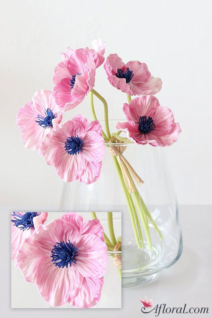 Real Touch Poppy Bundle In Pink And Navy Blue 12 Flower Summer