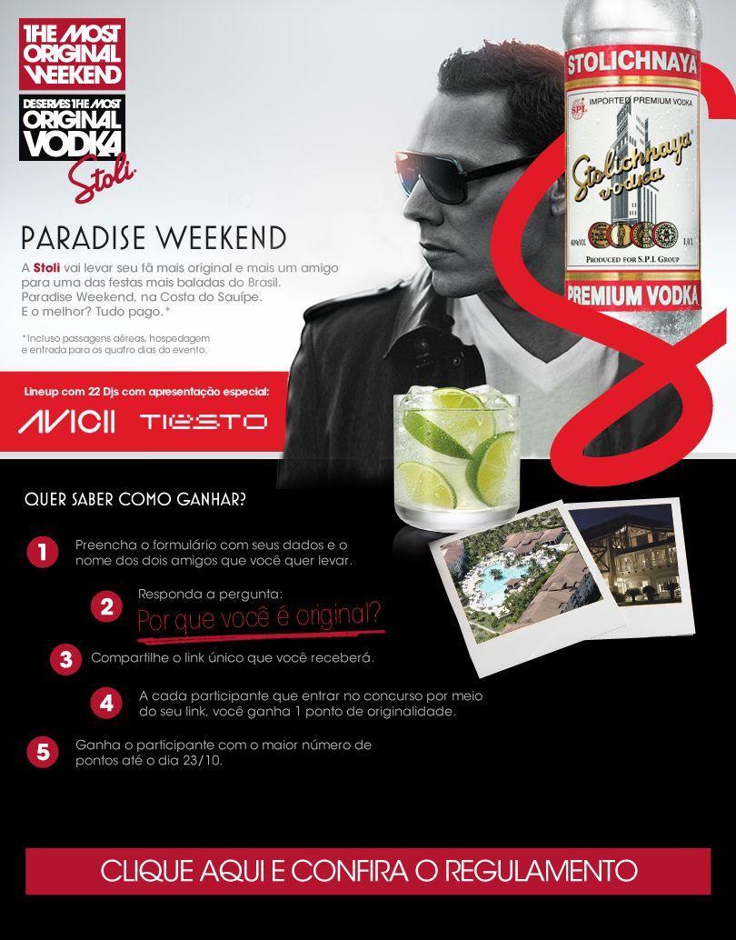 Pagetab para o Facebook da Stoli. Campanha para a Paradise Weekend com Tiesto, Avicii, e outros top DJs.