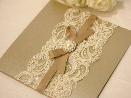 Vintage Lace Wedding Invitation Card mink by BStudioInvitations, $12.50