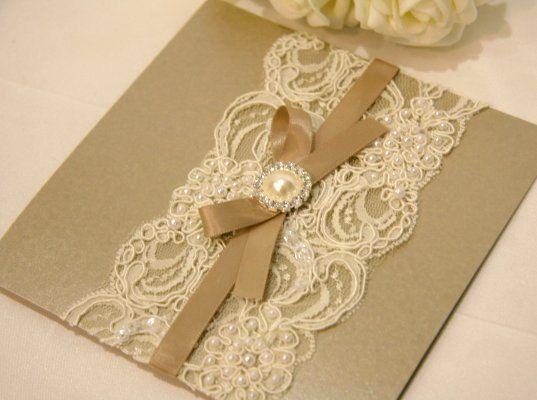 Vintage Lace Wedding Invitation Card mink by BStudioInvitations, $12.50