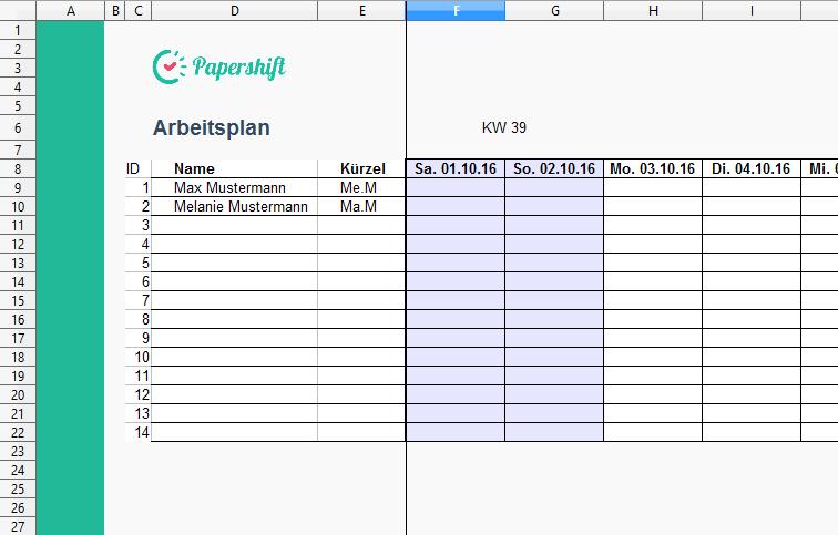 Arbeitsplan Vorlage Excel Kostenloser Download Excel Vorlagen