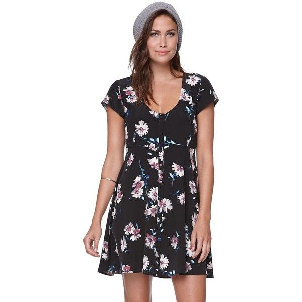 O'neill Betty Dress ($35) found on Polyvore featuring dresses, floral button front dress, floral sleeve dress, scoop-neck dresses, flower pattern dress and women dresses