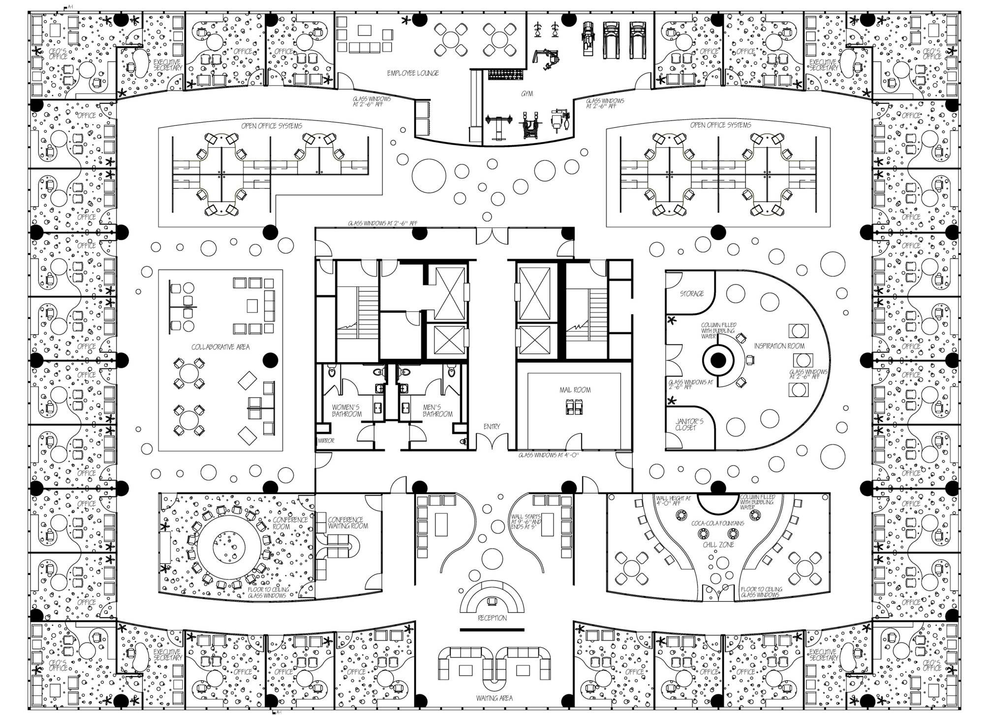 Contemporary office coca cola executive office by nadine for Office design floor plan