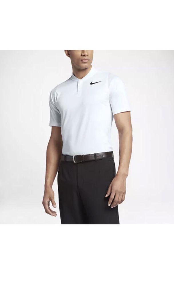 88634199d NIKE TIGER WOODS GOLF SHIRT STAY COOL DRI FIT WHITE ZIPPER Sz Large 833173  051 #NikeGolf #ShirtsTops