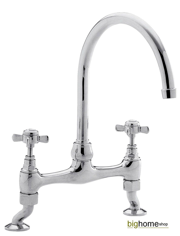 Versailles Traditional Style Kitchen Bridge Sink Mixer Tap: Amazon ...