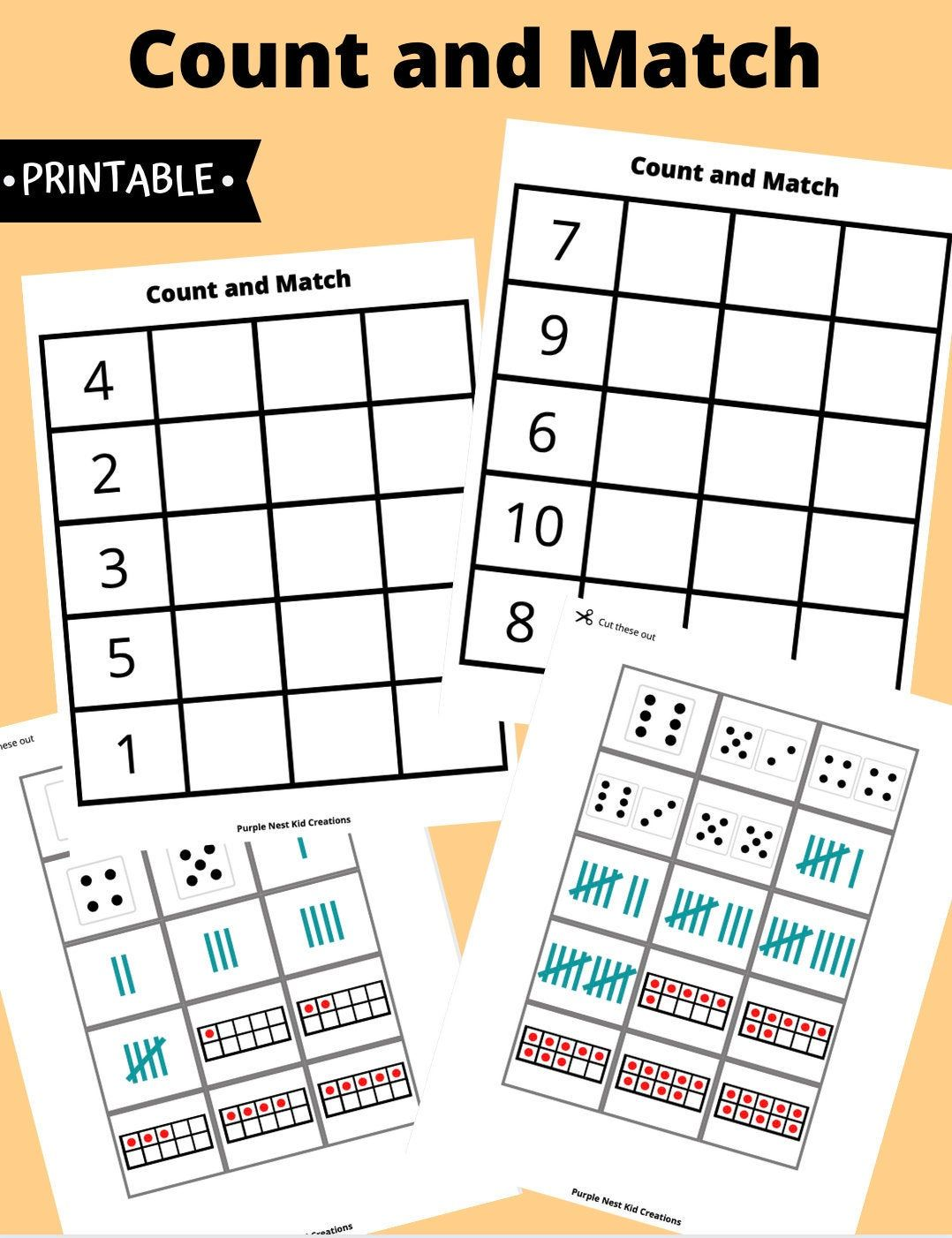 Count And Match Worksheet Digital Download Numbers