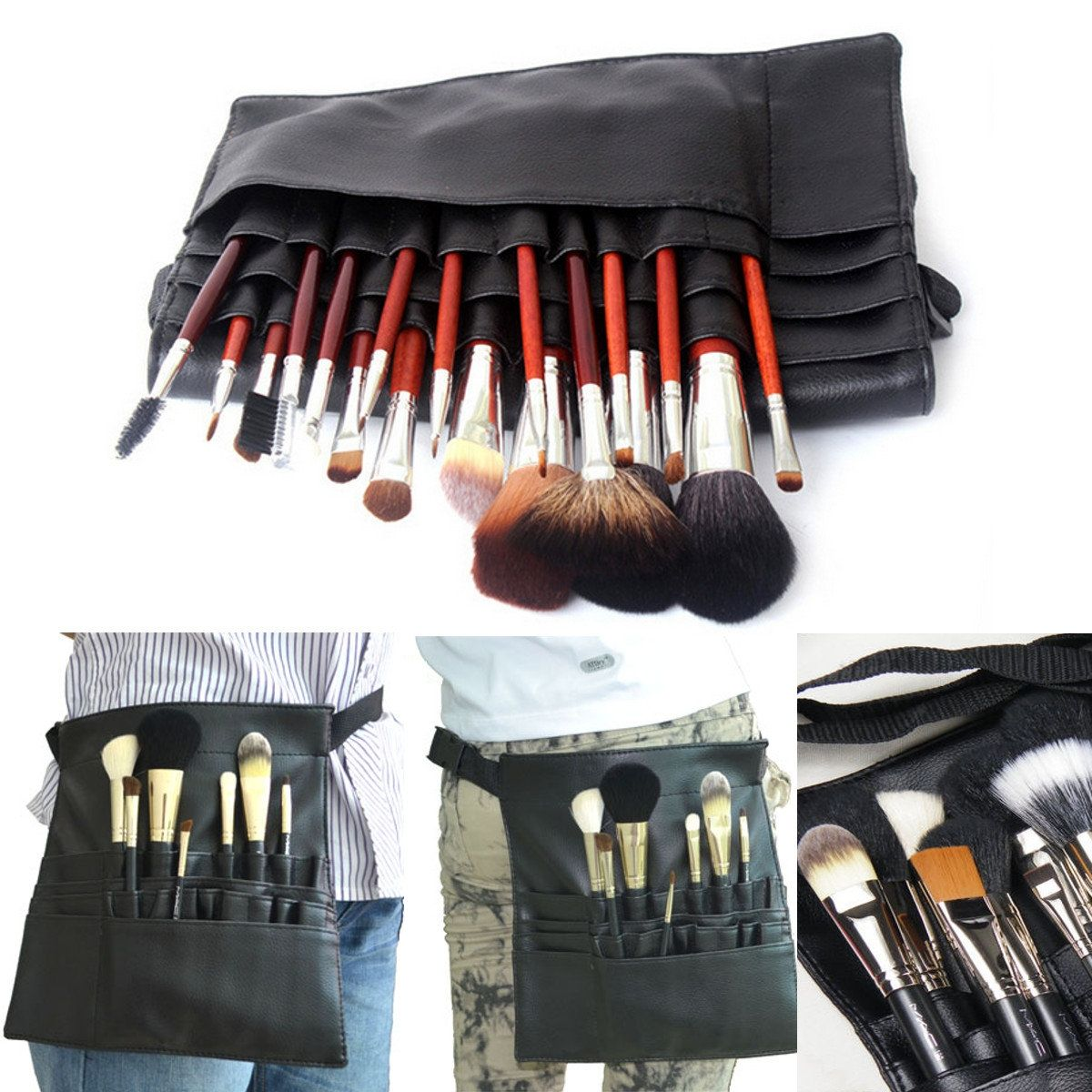 US21.78 22 Pockets Professional Makeup Brushes Apron