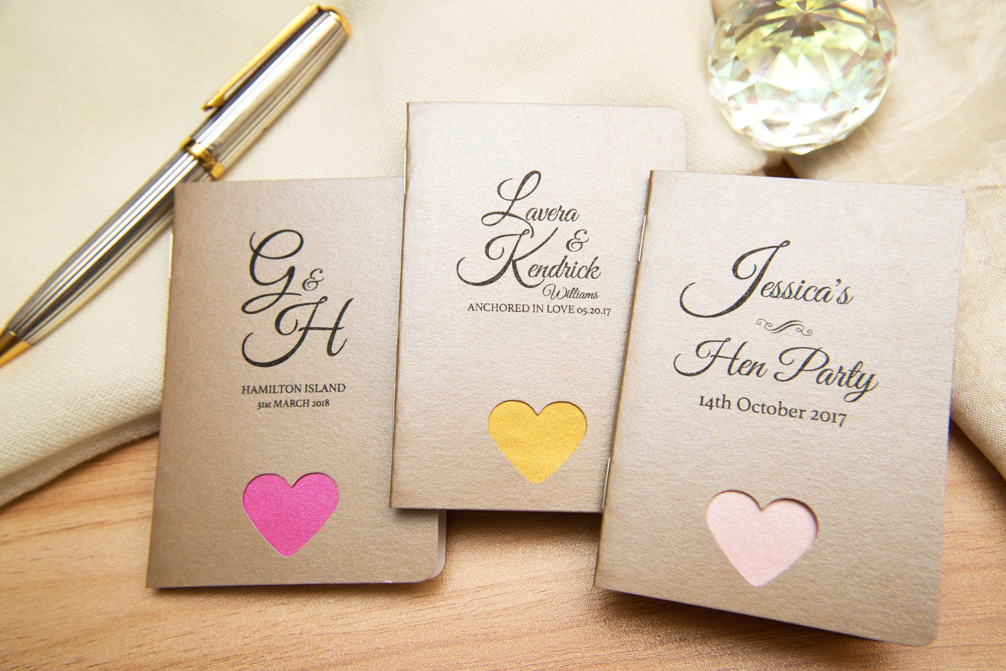 50 Mink Pearlised Mini Notebook Favours with hearts. Custom wedding ...