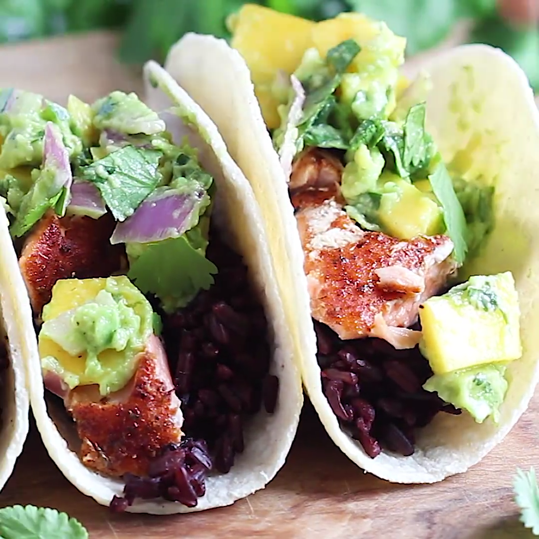 Photo of Blackened Salmon Tacos with Forbidden Rice & Mango Guacamole