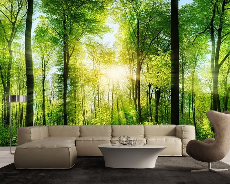 Sunray Spring Forest Large Wall Mural Self Adhesive Vinyl Wallpaper Peel Stick Fabric Wall Decal Large Wall Murals Fabric Wall Decals Wall Murals