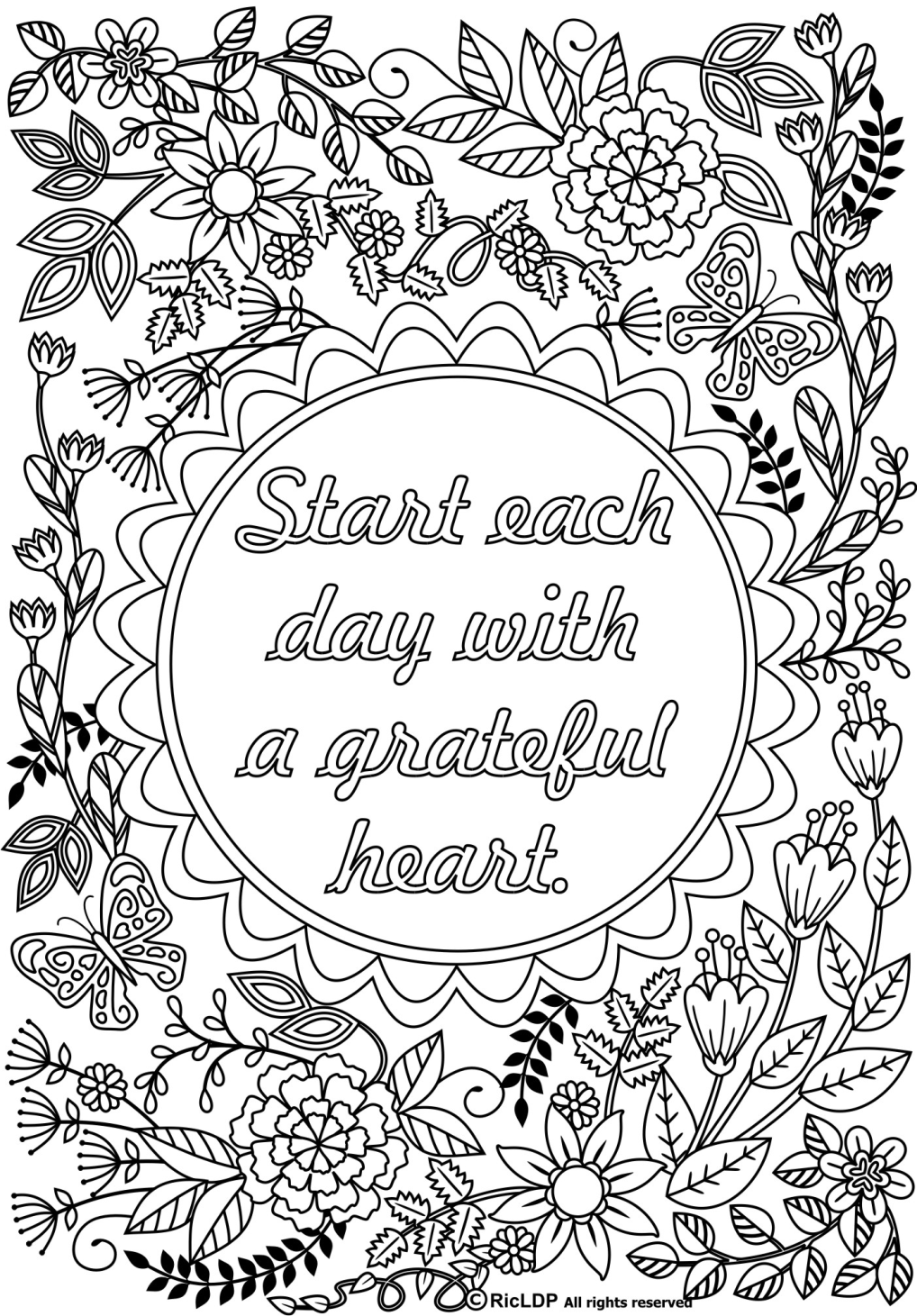 start each day  a grateful heart  adult coloring