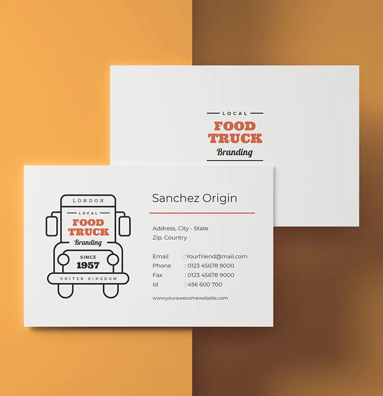 Food Truck Business Card Template Food Truck Business Business Card Template Design Business Cards