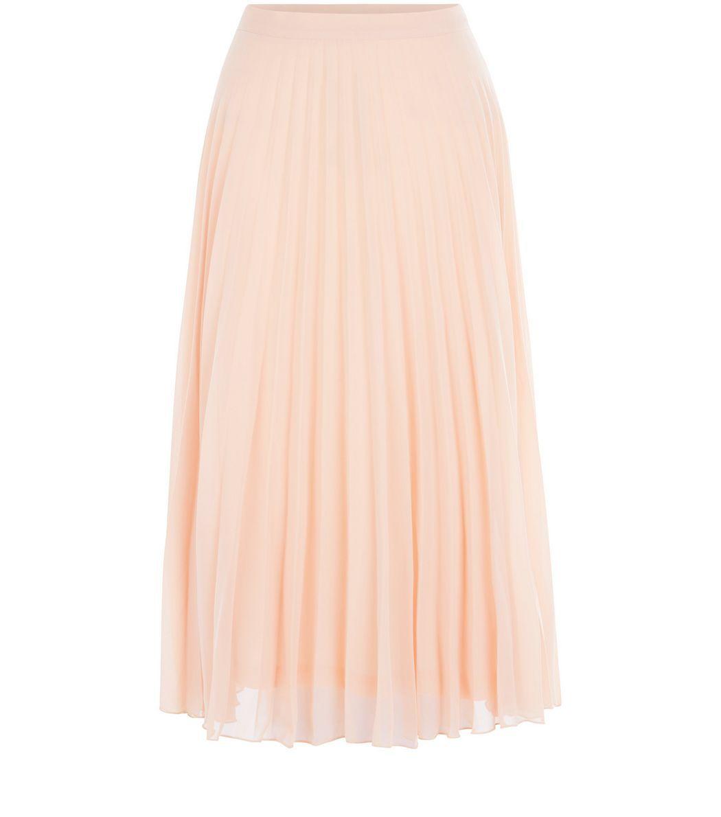 Shell Pink Chiffon Pleated Midi Skirt    New Look