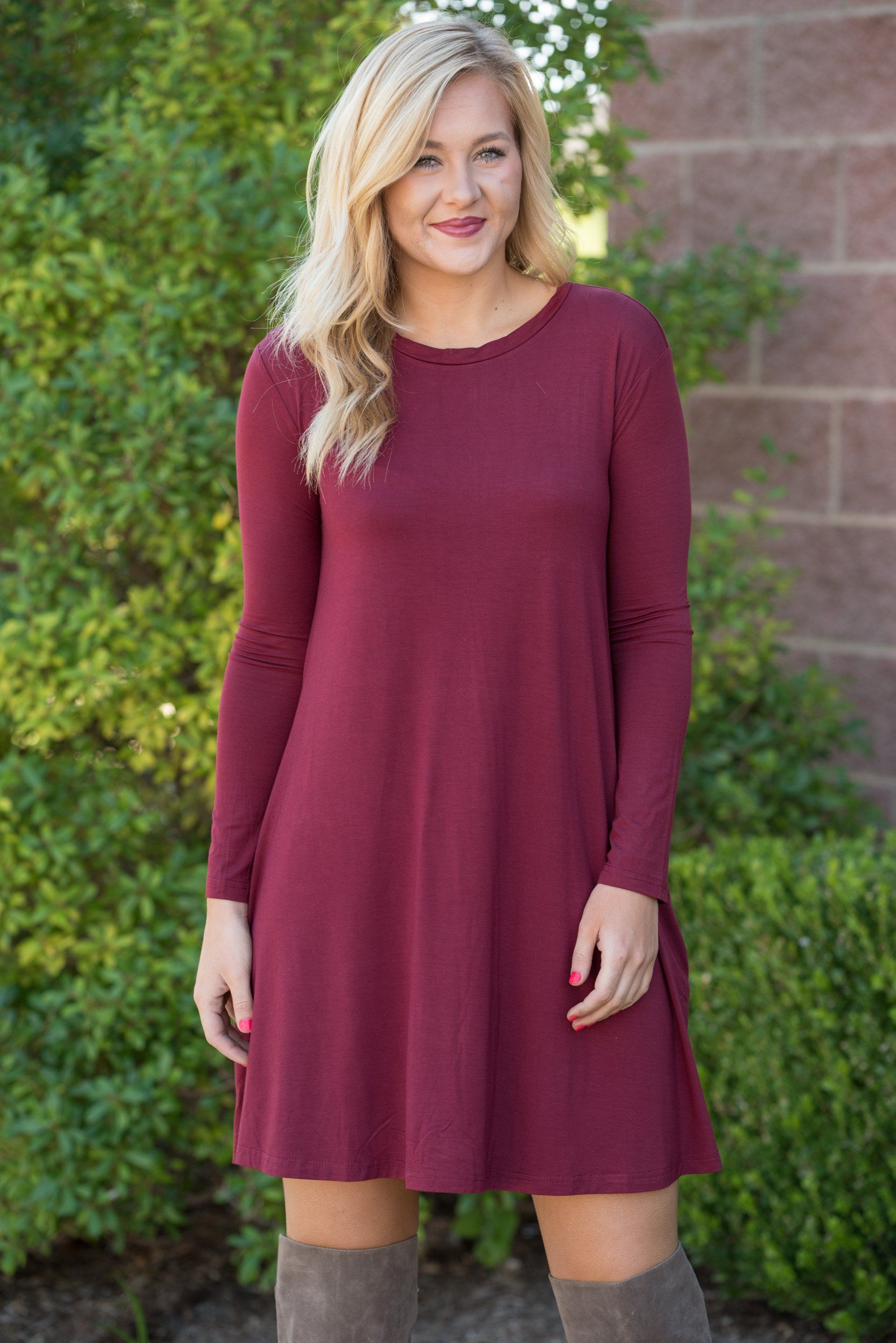 b3140badfbd8f Piko long sleeve swing dress plum | Products