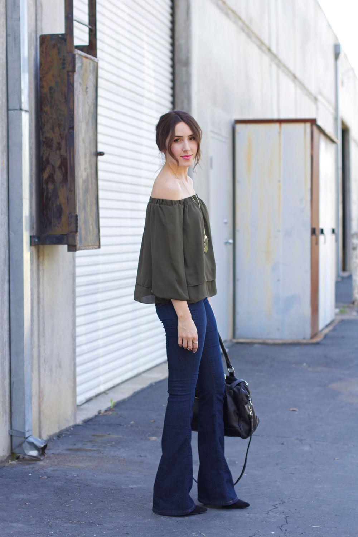 flare jeans, off the shoulder // Elements of Ellis   Elements of ...
