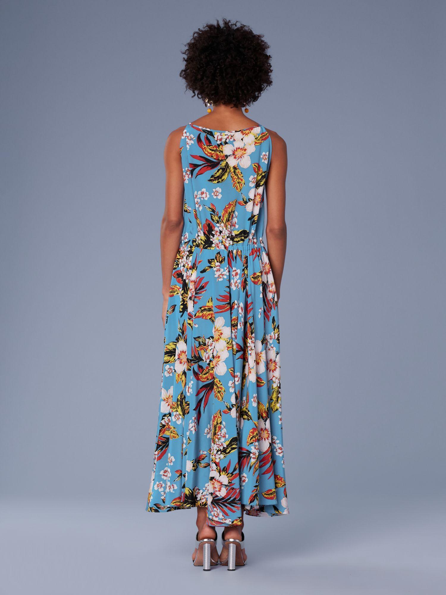 12aabfc959c Diane Von Furstenberg Dvf Key Hole Waist Tie Maxi Dress - Walden Black 10