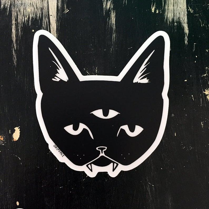 THREE EYED CAT vinyl sticker Etsy Vinyl sticker, Cat art