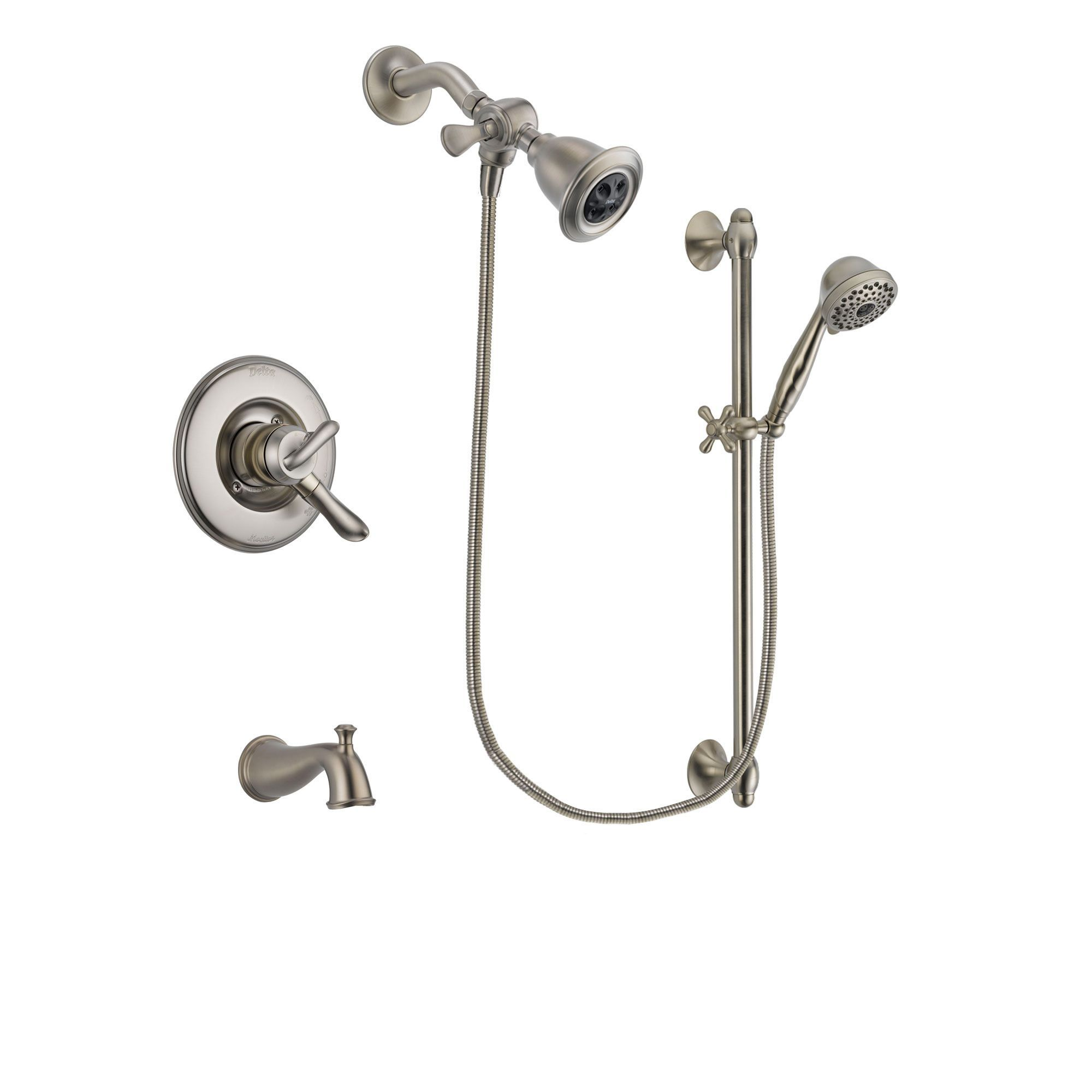 Delta Linden Stainless Steel Finish Dual Control Tub And Shower