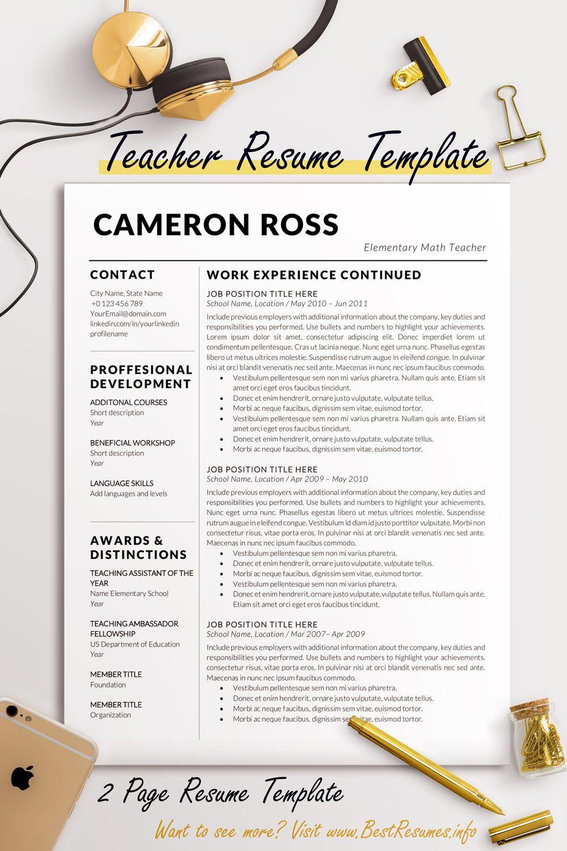 Teacher Resume Template Cameron Ross Business resume