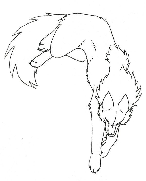 Lineart Wolf Tattoo : Realistic wolf lineart ms paint pixshark