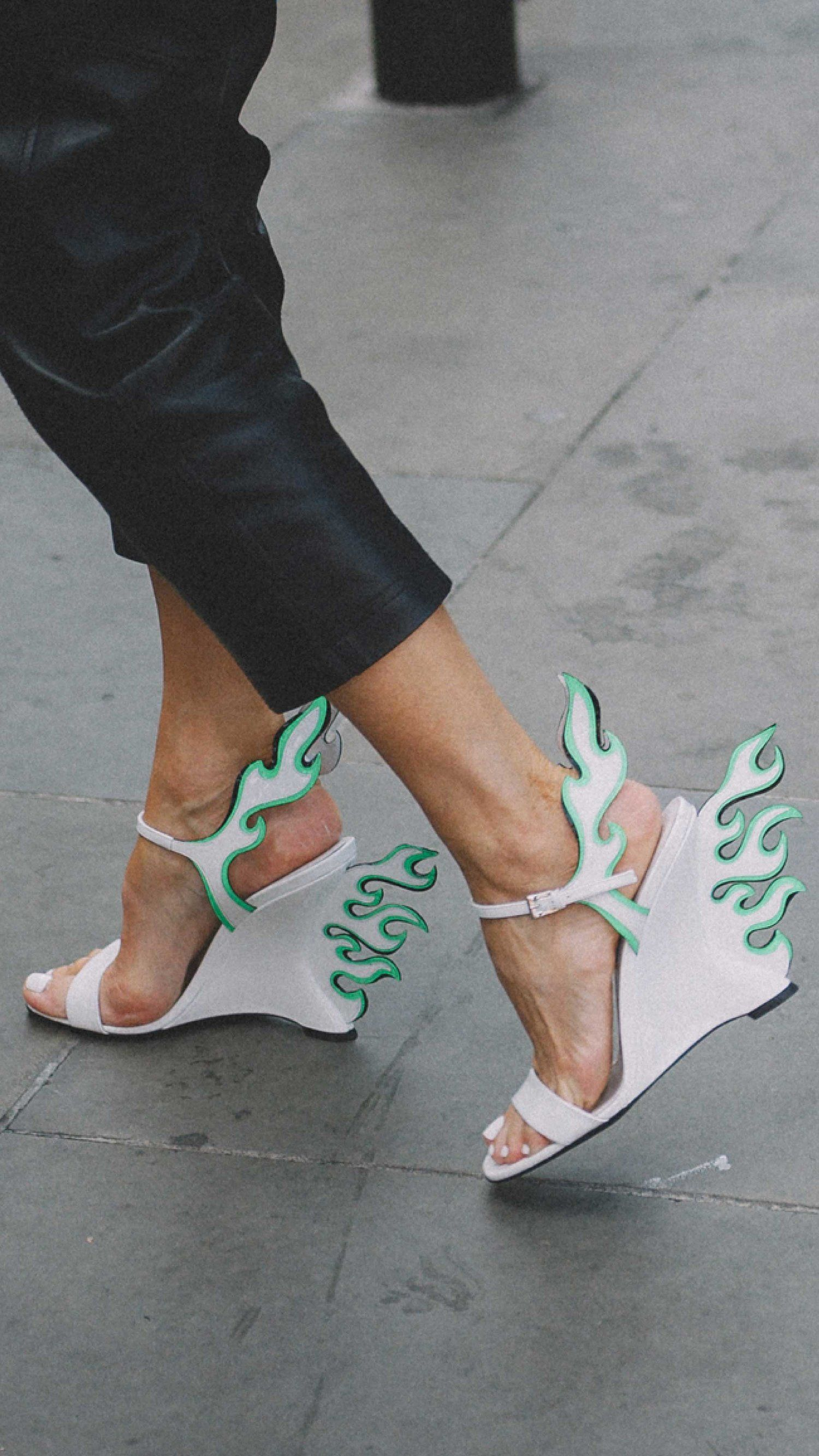f59ed930a2e Prada Flame Patent Leather Wedge Sandals London Fashion Week Street Style  Photos Spring Summer 2018 Outfit Inspiration