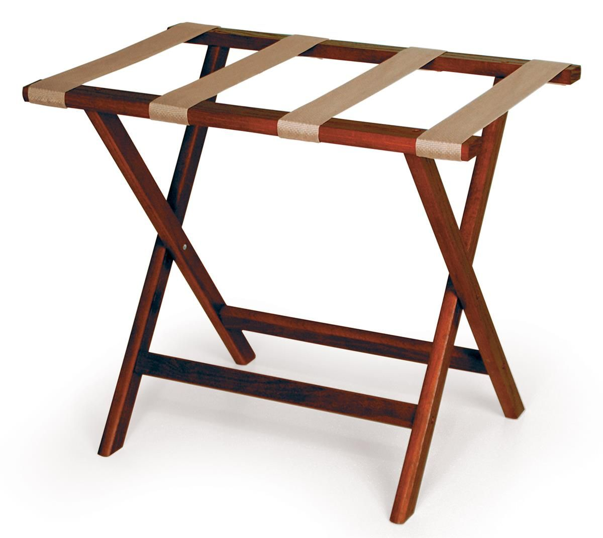 Wooden Luggage Rack Mahogany With Tan Straps Luggage Rack