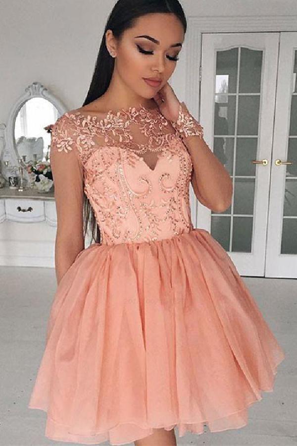 Prom Dress Pink Promdresspink Wedding Dress Weddingdress Prom Dresses Promdresses Blush Coral Homecoming Dresses Homecoming Dresses Cap Sleeve Prom Dress