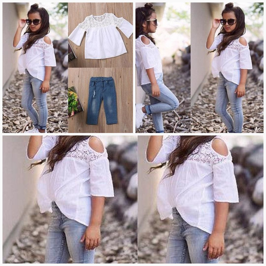 Toddler Kid Baby Girl Clothes Outfits Set Summer Lace T Shirt Tops Jeans Pants