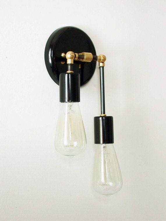 Double Wall Sconce Black Lamp Modern Wall Lighting Bedroom Light