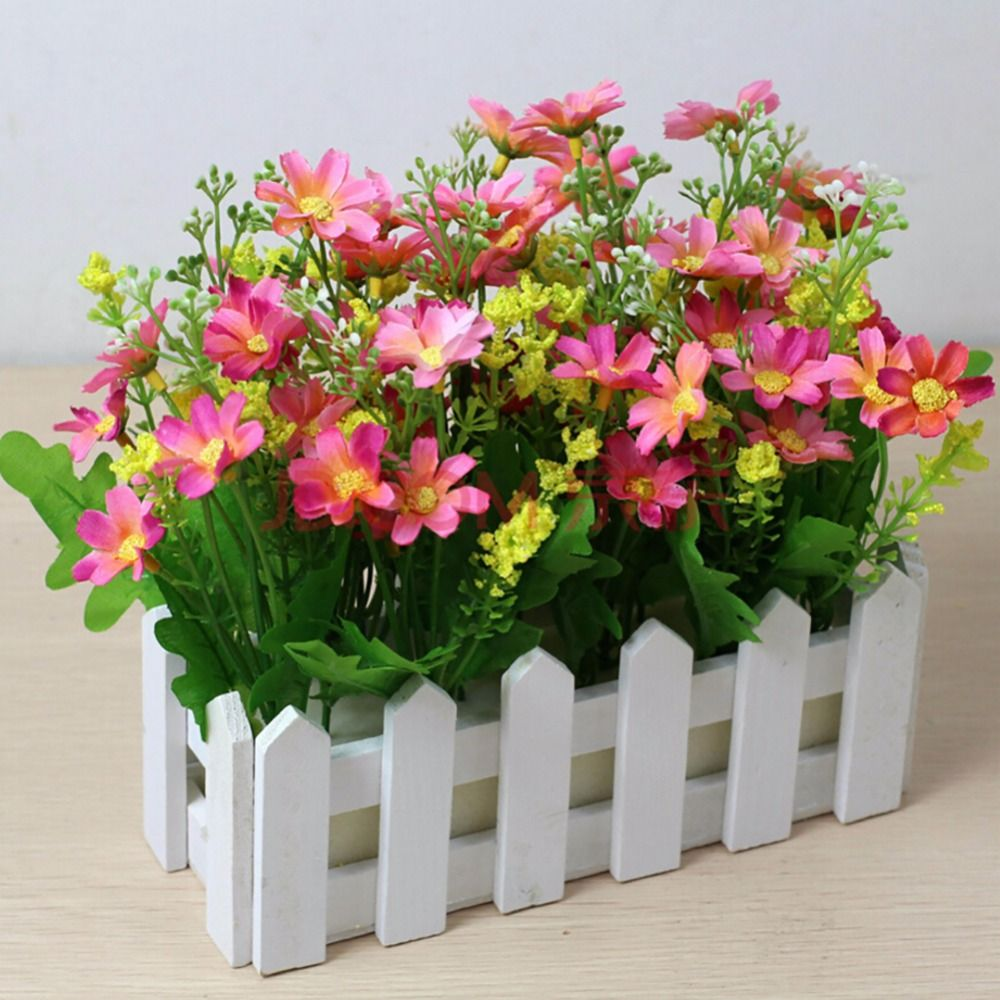 New New White Fence Wood Flower Pots Pastoral Spruce Planters Garden  Supplies For Artificial Flower #