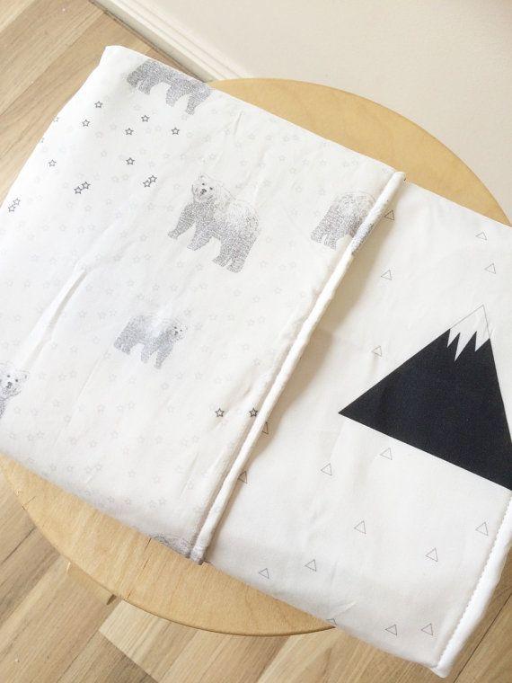Bear mountain gray black monochrome cot by ElskeLittleStyle