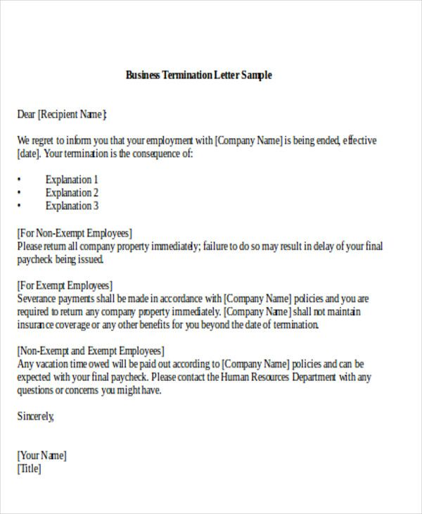 sample termination business letter examples word pdf best photos - business termination letter