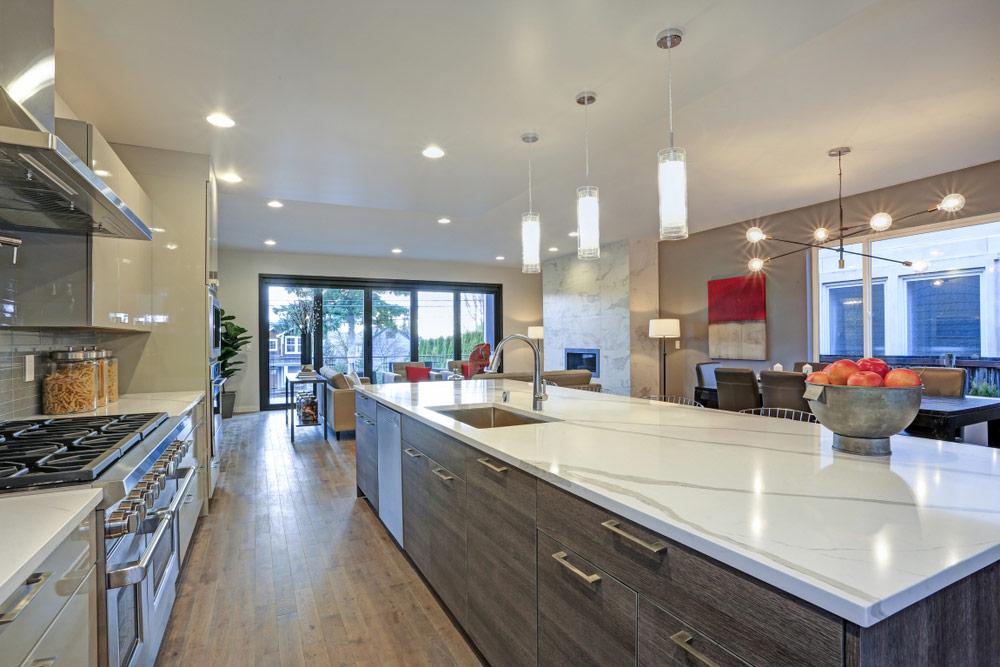 Quartz Countertops High End Kitchen Install Modern Kitchen Island Design Modern Kitchen Design Modern Kitchen