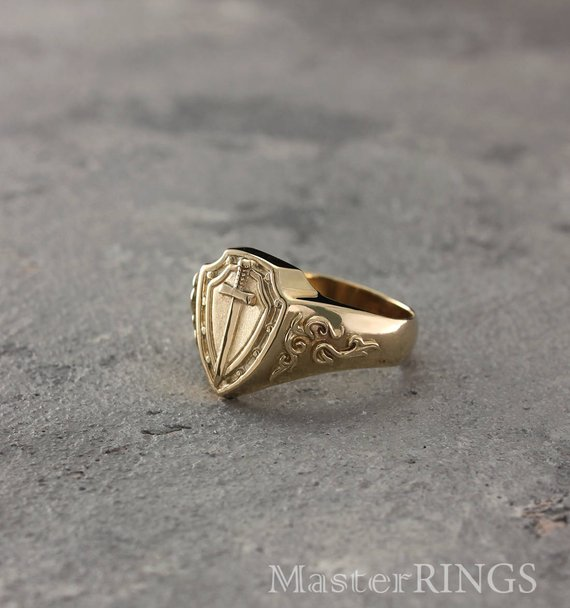 Knight S Gold Signet Ring Sword And Shield Ring Men Gold Signet