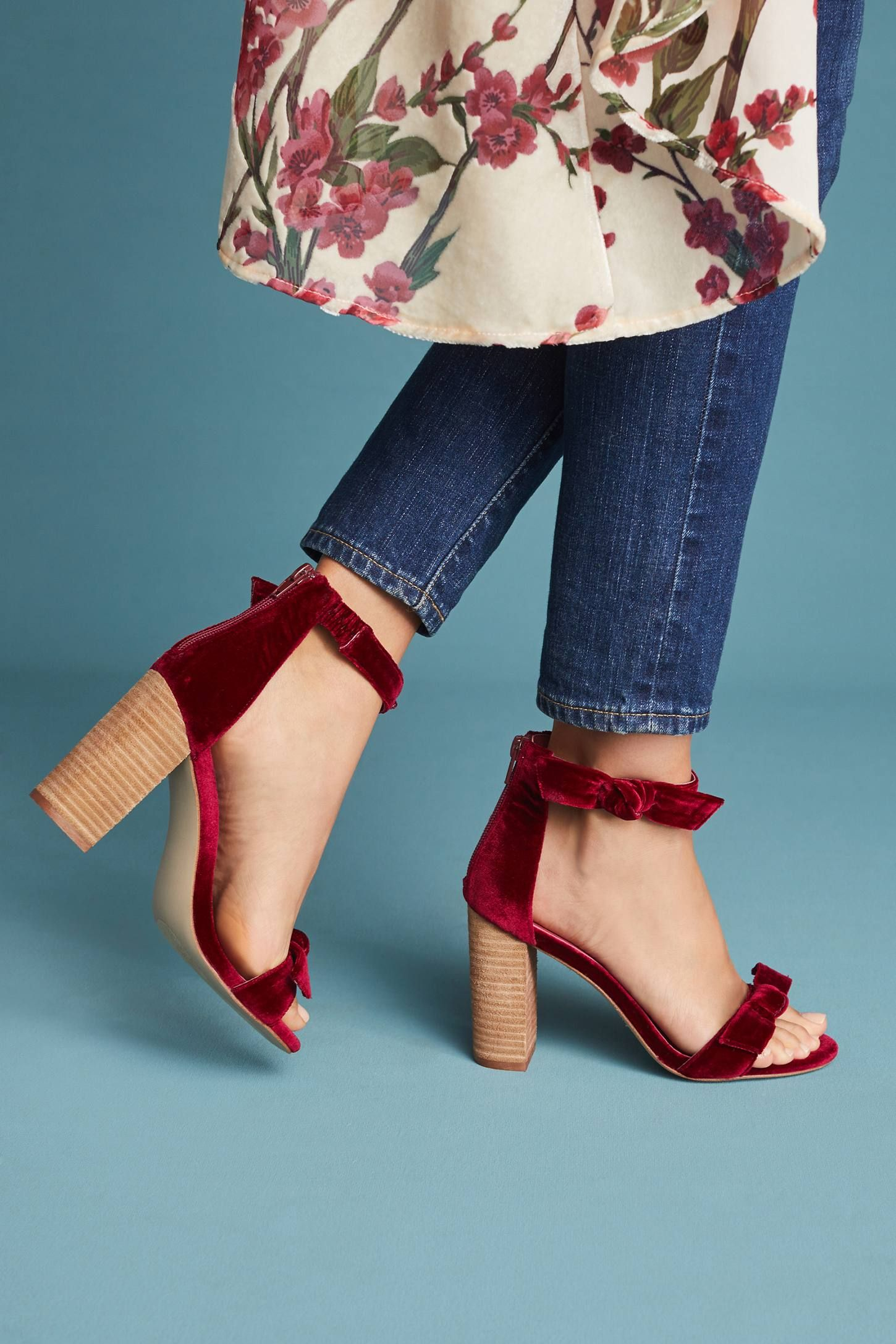 0c6430eba52f7 Shop the Jeffrey Campbell Velvet Heeled Sandals and more Anthropologie at  Anthropologie today. Read customer reviews, discover product details and  more.