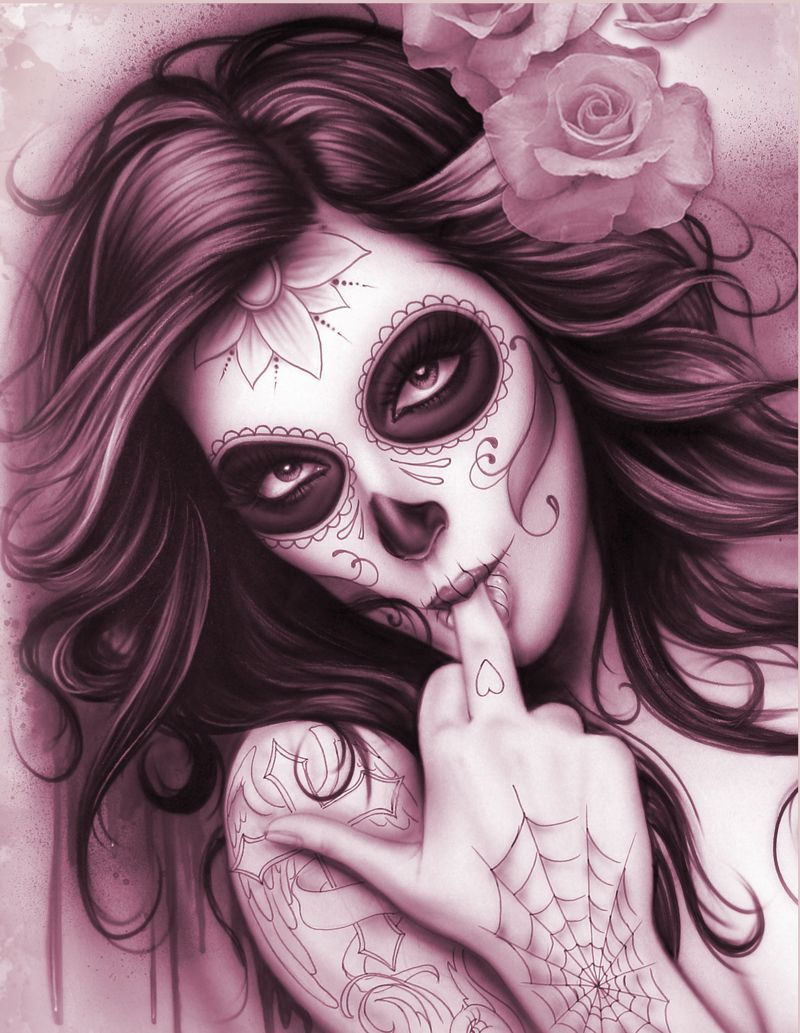 Dia de los muertos pin up girl tattoo