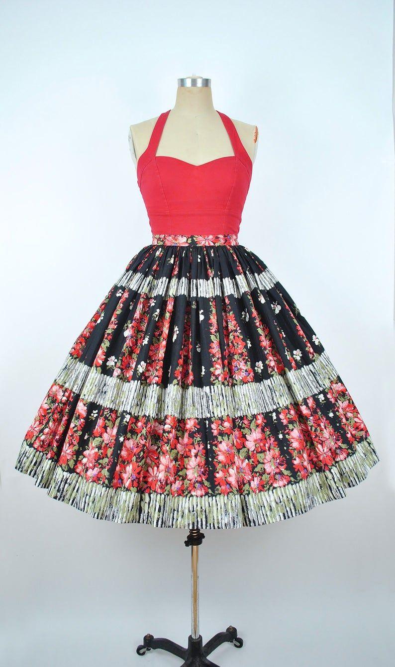 Vintage 1950s Koret Of California Circle Skirt 50s Cotton Etsy Circle Skirt Koret Cotton Sundress [ 1341 x 794 Pixel ]