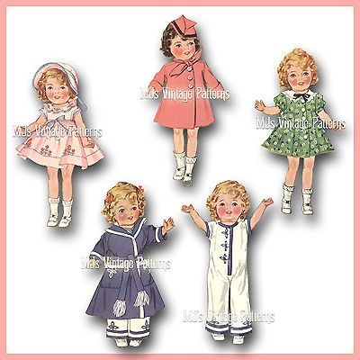 Vintage Shirley Temple Doll Clothes Pattern ~ 20/""