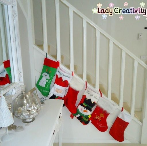 Stockings on the staircase http://www.ladycreativity.com/p/holidays.html