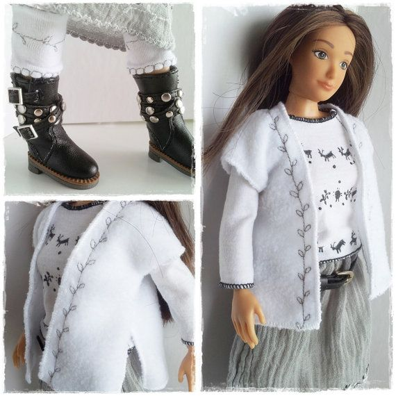 Lammily Doll  Outfit / Polar Fleece Vest And Bootcuffs  / Doll Fashion